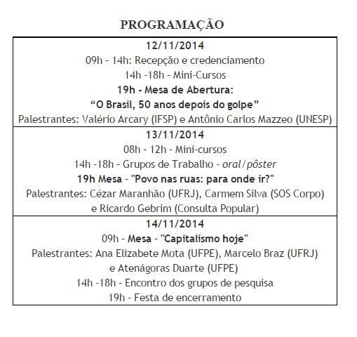 12 a 14/11/14 – encontro – 6º Encontro de Grupos de Estudos e Pesquisas Marxistas (EPMARX)