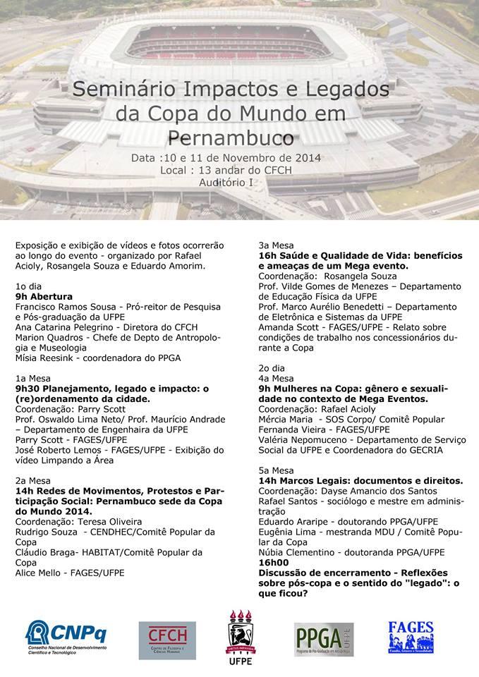10 e 11/11/14 – Mércia Alves, da equipe do SOS Corpo, participa de mesa no seminário Impactos e Legados da Copa em Pernambuco