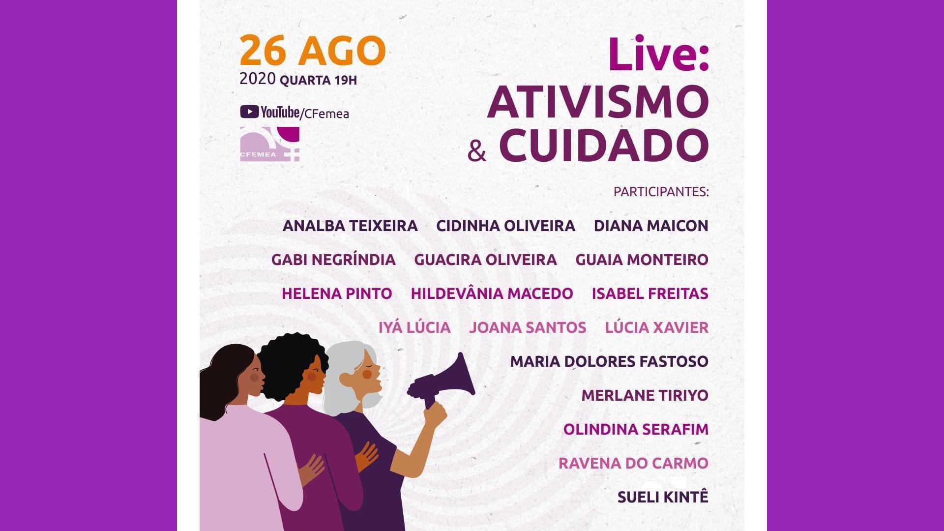 Live do CFEMEA discute autocuidado e cuidado entre ativistas
