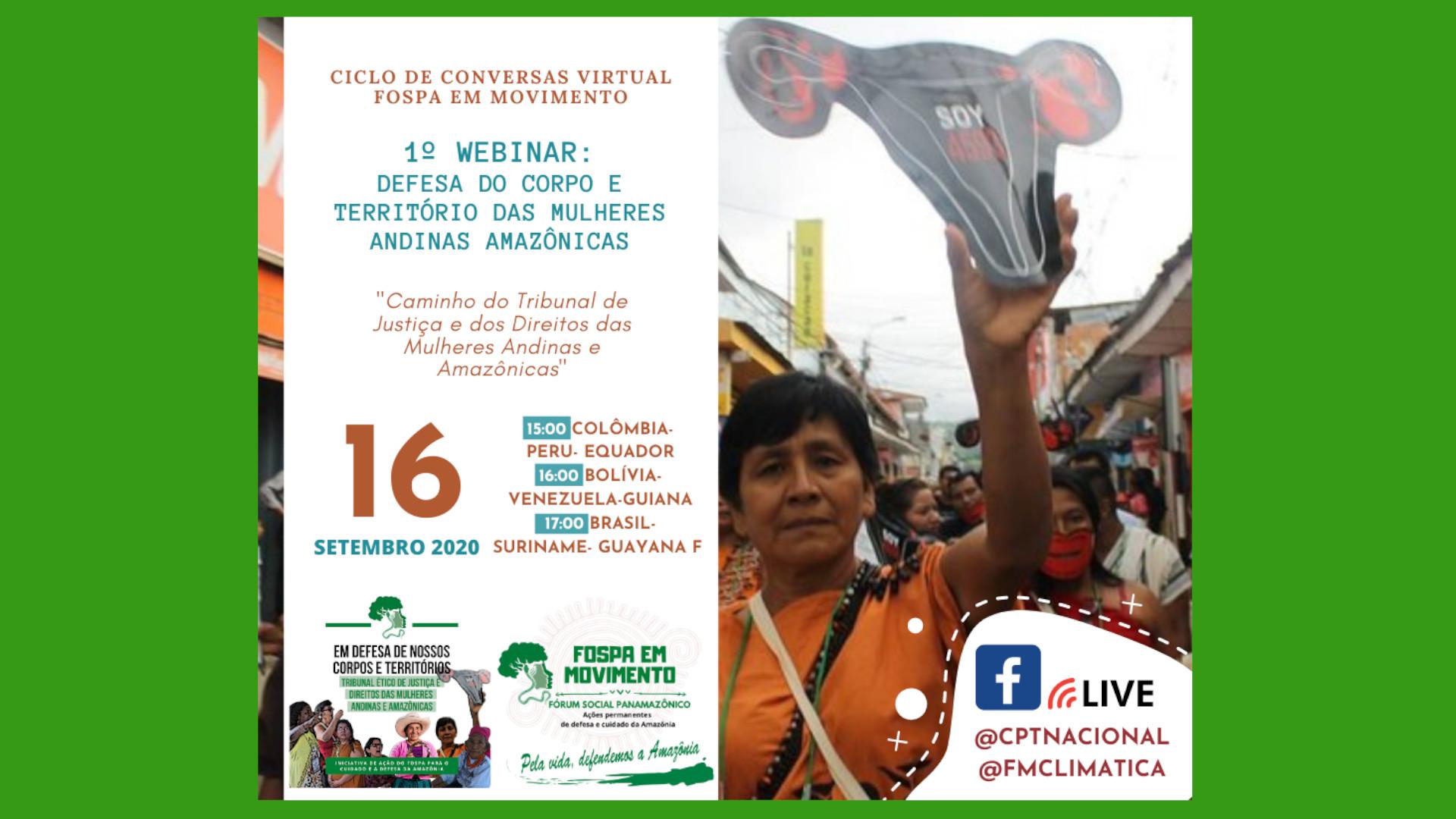 Vem aí o 1º webinar Defesa do corpo e do território da mulher andina amazônica