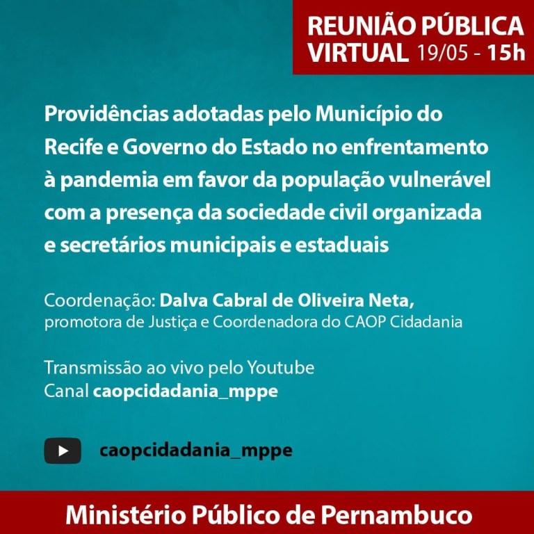 Movimentos sociais tem audiência pública virtual com MPPE nesta terça (19)