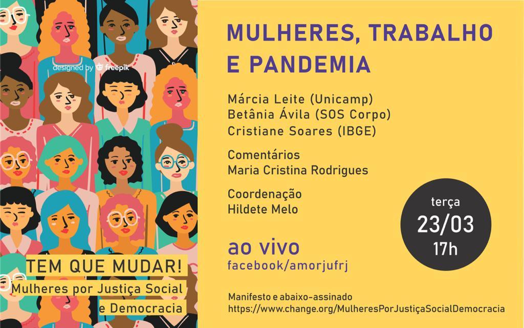Mulheres, Trabalho e Pandemia é tema de debate ao vivo