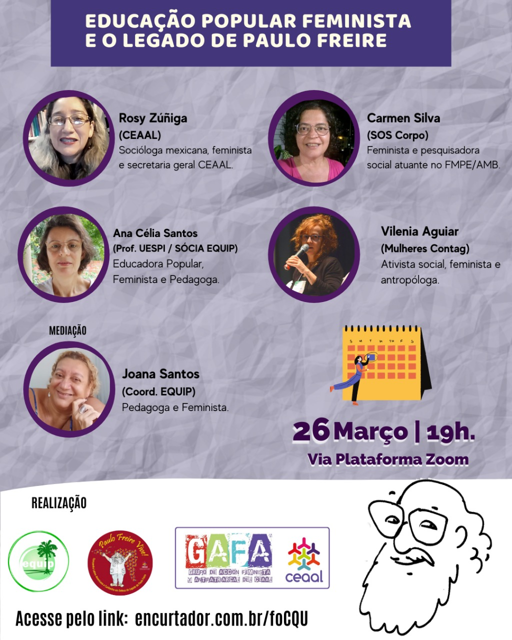 Debate da EQUIP dia 26 sobre Educação Popular Feminista e o Legado de Paulo Freire terá transmissão ao vivo