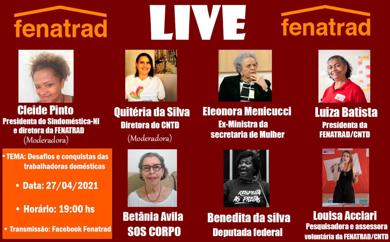 Live da FENATRAD discute os desafios e as conquistas das trabalhadoras domésticas no Brasil