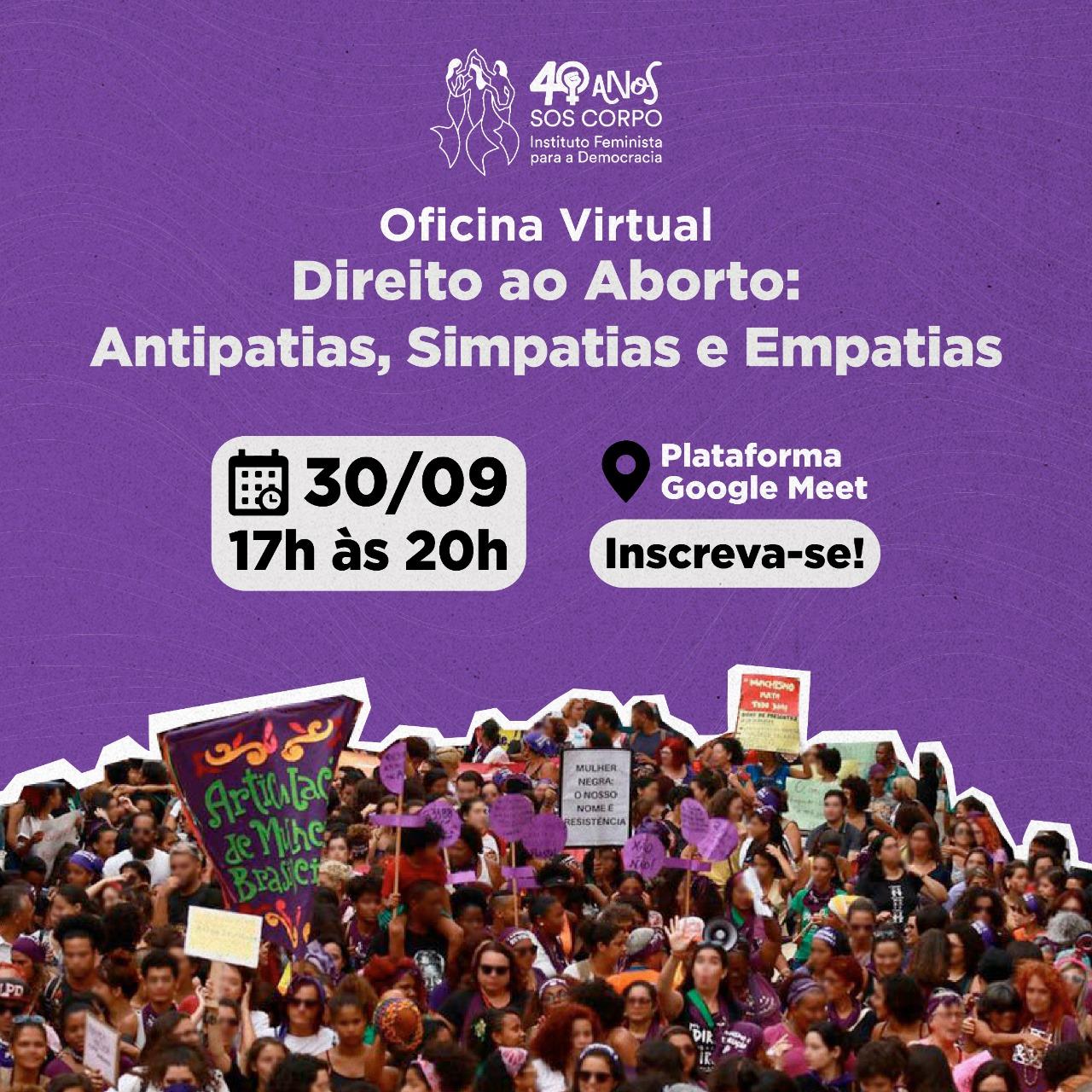 SOS Corpo oferece Oficina Virtual sobre Direito ao Aborto