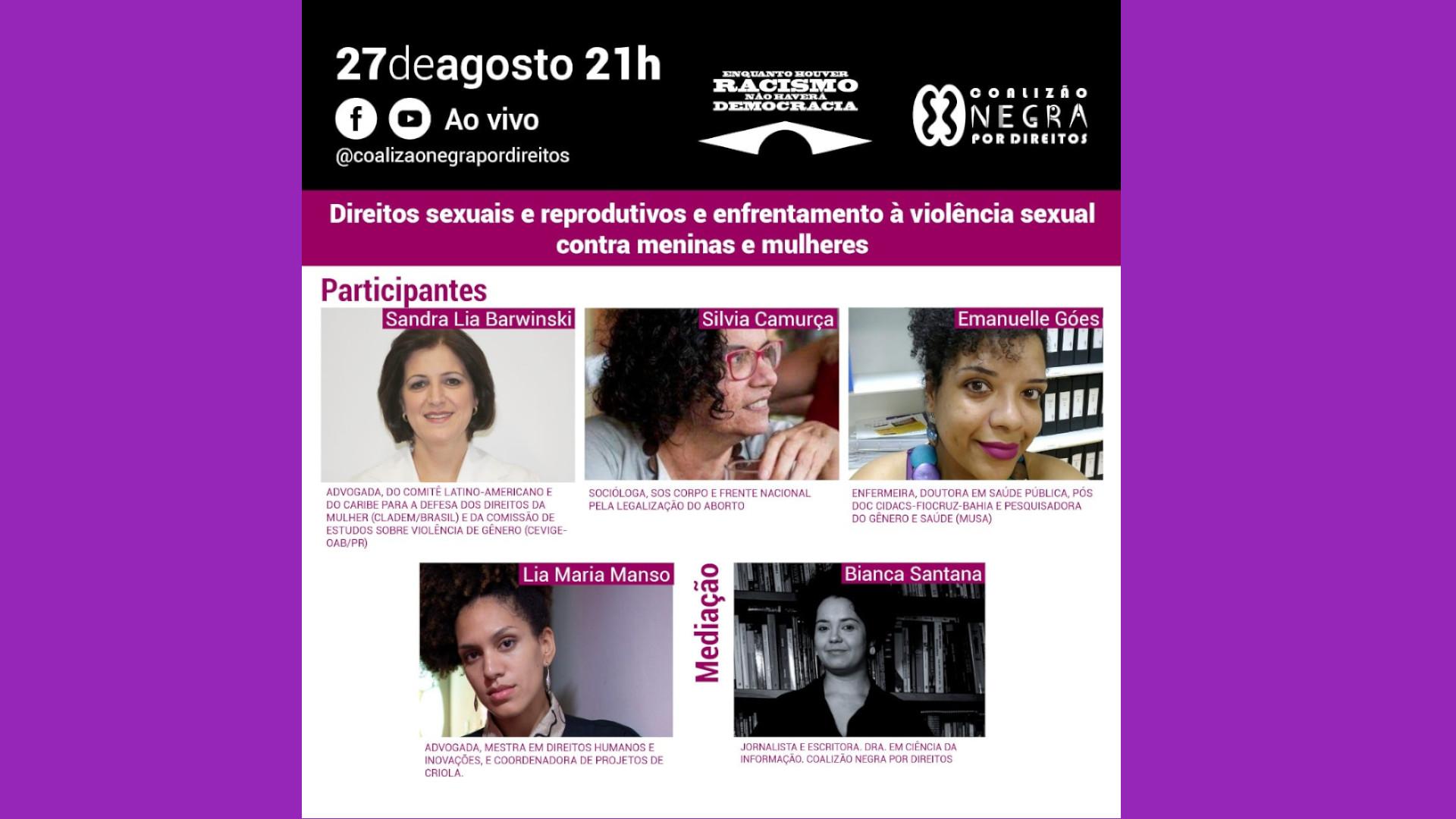 Coalizão Negra Por Direitos debate Direitos Sexuais e Reprodutivos e violência sexual contra meninas e mulheres