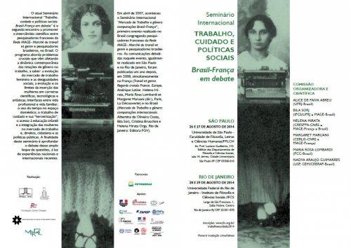 26 a 29/08/14 – seminário – Trabalho, cuidado e políticas sociais