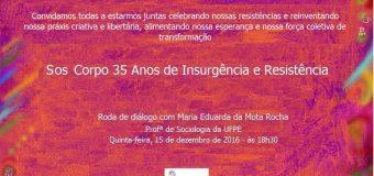 35 anos do SOS Corpo – 15/12, às 18h30: celebremos nossa força coletiva de transformação